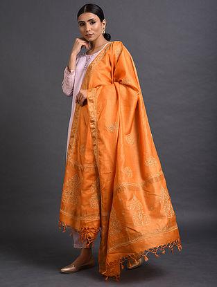 Orange Chikankari Tussar Silk Dupatta