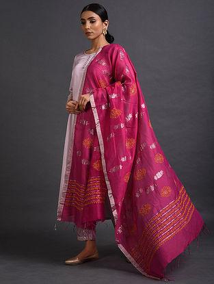 Pink Chikankari Chikankari Chanderi Dupatta
