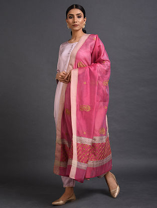 Pink Chikankari Maheshwari Dupatta