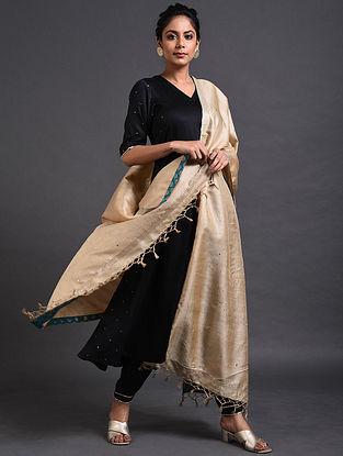 Ivory Tussar Silk Dupatta with Mukaish Work
