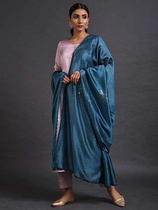Blue Chanderi Dupatta with Mukaish Work and Crochet Border
