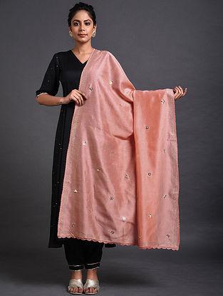 Pink Chanderi Dupatta with Mukaish Work and Crochet Border