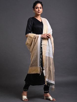 Ivory Maheshwari Dupatta with Mukaish Work and Crochet Border
