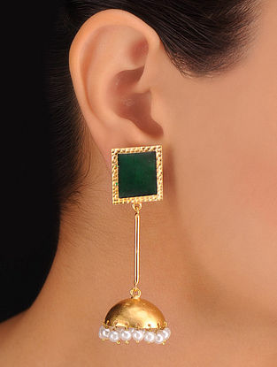 Pair of Square Green Earrings