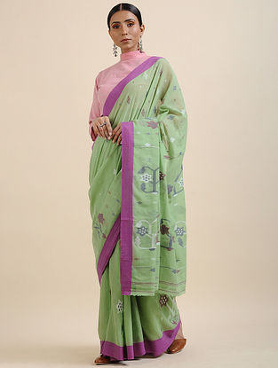 Green-Purple Khadi Jamdani Saree