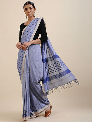 Blue Khadi Jamdani Saree