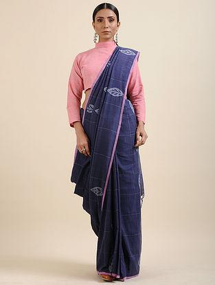 Blue-Pink Khadi Jamdani Saree