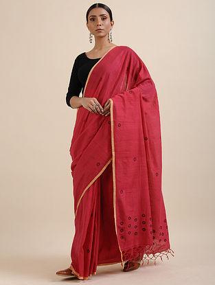 Pink Khadi Jamdani Saree