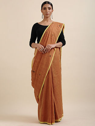 Brown-Black Khadi Jamdani Saree