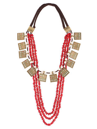 Red Gold Tone Beaded Necklace with Pearls