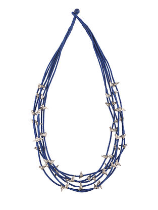 Blue Silver Tone Handcrafted Necklace
