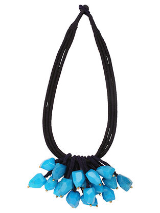 Blue Black Handcrafted Beaded Necklace
