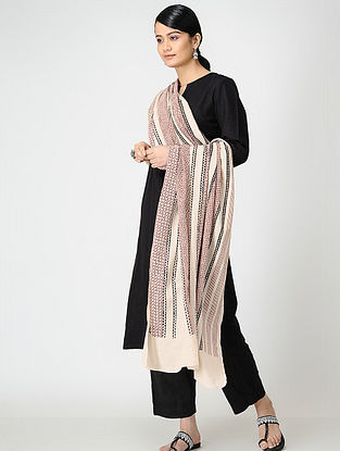 Madder-Black Bagh-printed Cotton Dupatta