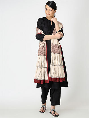 Madder-Black Bagh-printed Cotton Dupatta