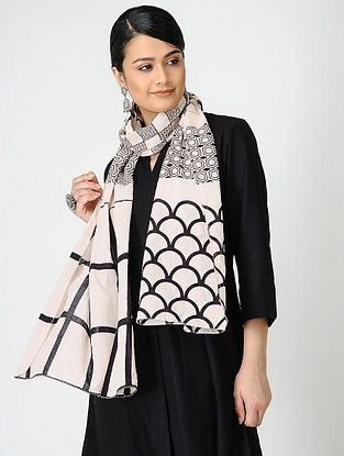 Black-Ivory Bagh-printed Cotton Stole