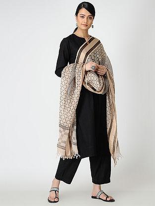 Black-Ivory Bagh-printed Silk Cotton Dupatta