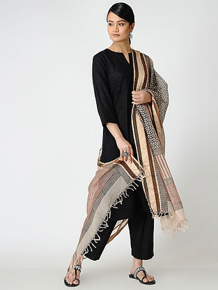 Madder-Black Bagh-printed Silk Cotton Dupatta