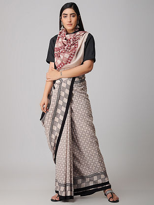 Black-Ivory Bagh-printed Cotton Saree with Blouse Fabric