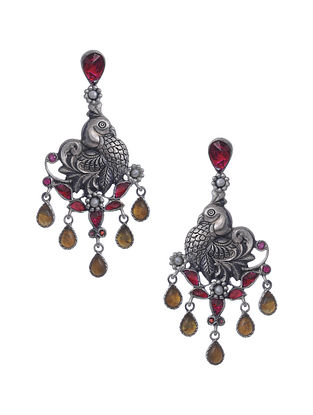 Red Yellow Kundan Silver Earrings