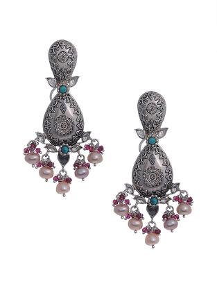 Maroon Turquoise Kundan Silver Earrings with Pearls