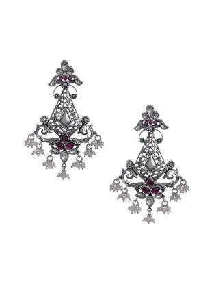 Pink Kundan Silver Earrings with Pearls