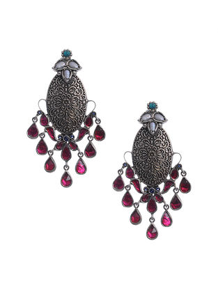 Turquoise Pink Kundan Silver Earrings with Pearls