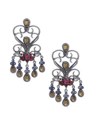 Multicolored Kundan Silver Earrings