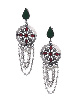 Red Green Glass Silver Earrings with Pearls