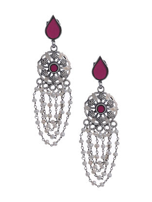 Pink Glass Silver Earrings with Pearls