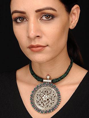 Green Purple Silver Necklace