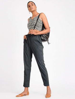 Grey Block-printed Cotton Top with Pants (Set of 2)