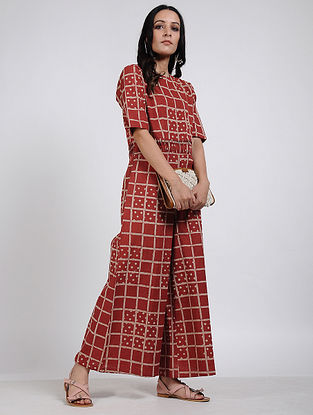 Red Block Printed Cotton Jumpsuit