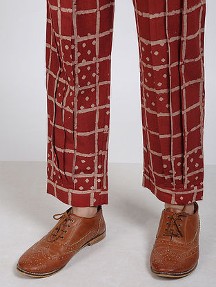 Red Block Printed Cotton Trousers