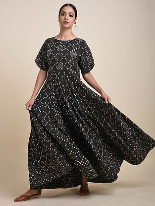 Charcoal Block Printed Cotton Anarkali