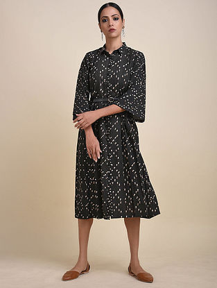 Charcoal Block Printed Cotton Dress