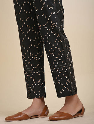 Charcoal Block Printed Cotton Pants