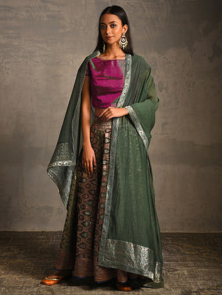 Green Chanderi Dupatta with Benarasi Silk Brocade