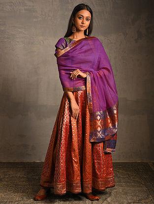 Purple Chanderi Dupatta with Benarasi Silk Brocade