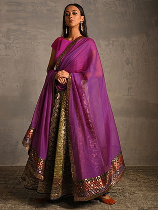Purple Chanderi Dupatta with Benarasi Silk Brocade