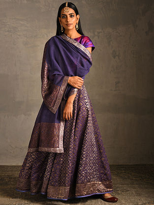 Blue Chanderi Dupatta with Benarasi Silk Brocade