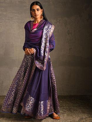 Blue Chanderi Dupatta with Benarasi Silk Brocade