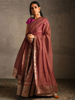 Rust Chanderi Dupatta with Benarasi Silk Brocade