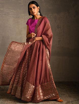 Rust Chanderi Dupatta with Benarasi Silk Brocade