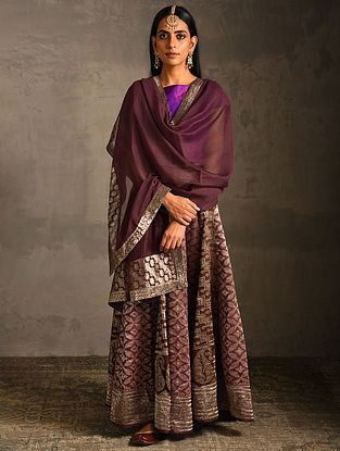 Plum Chanderi Dupatta with Benarasi Silk Brocade