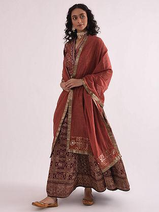 Rust Chanderi Dupatta with Banarasi Silk Brocade