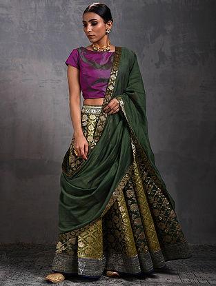 Green Chanderi Dupatta with Benarasi Silk Brocade