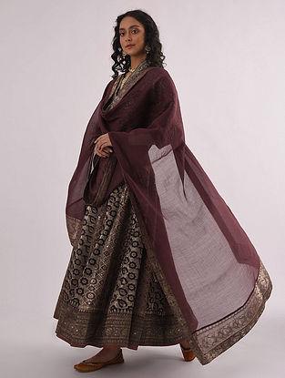 Maroon Chanderi Dupatta with Banarasi Silk Brocade