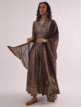 Brown Chanderi Dupatta with Banarasi Silk Brocade