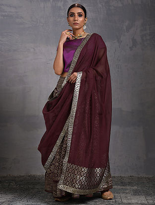 Plum Chanderi Dupatta with Benarasi Silk Brocade