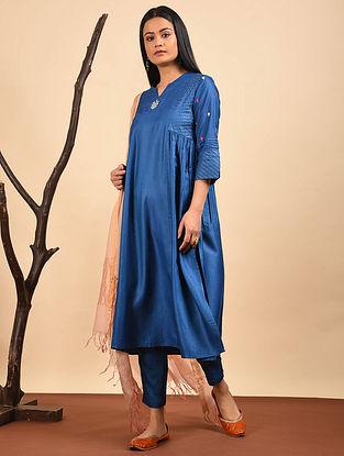 Blue Embroidered Silk Cotton Kurta with Gathers